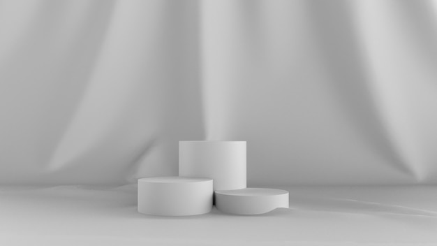 3d render abstract white background. with a stage show and cloth in back.