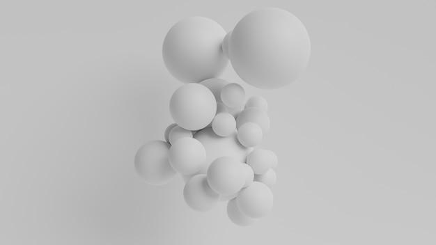 3d render, abstract white geometric background, white balls, balloons