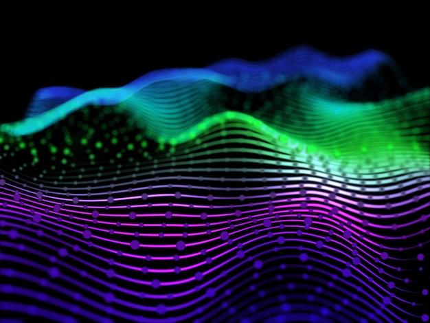 Rendering 3d di un abstract con linee fluide e particelle