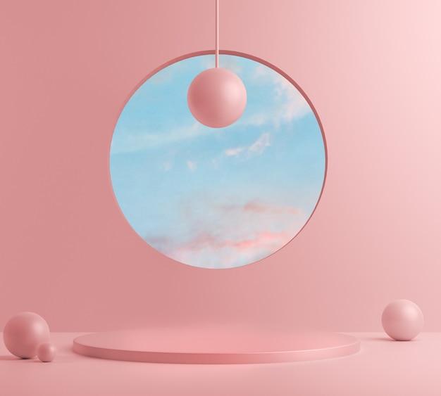 3d визуализация, аннотация с розовым подиумом и минимальной летней сценой.