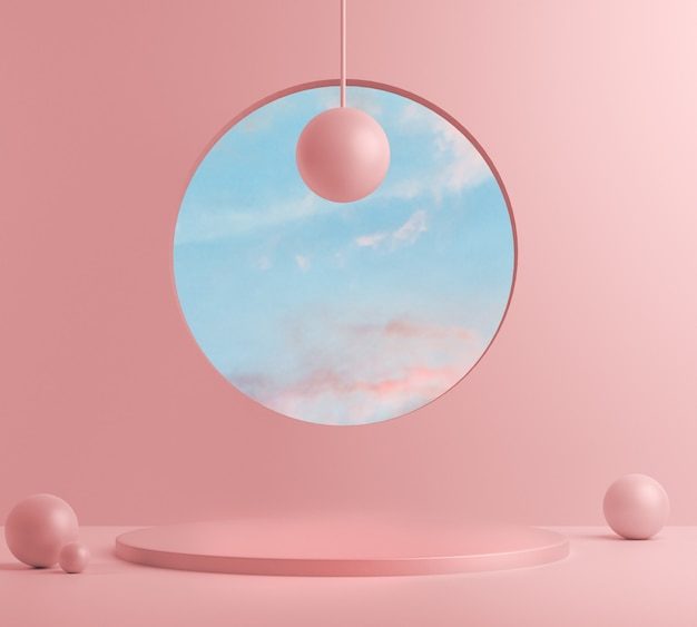 3d render, abstract with pink podium and minimal summer scene.