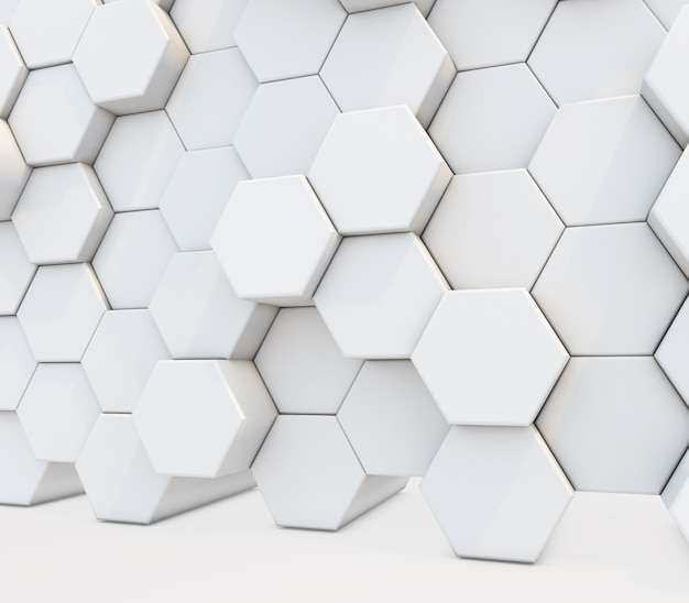 3d render of an abstract with a wall of extruding hexagons