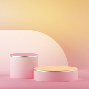 3d render of abstract yellow pink pastel easter background with blank cylinder podium