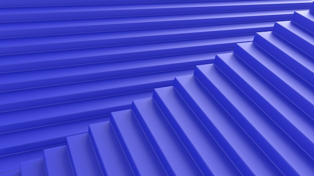 3d render abstraction blue stairs illusion