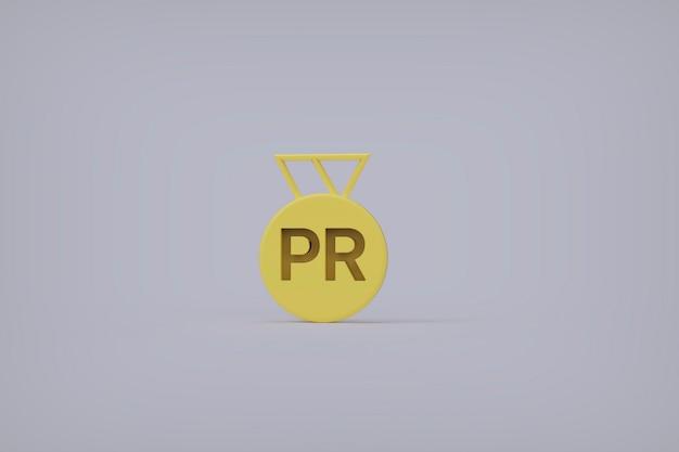 3d render, achievement medal with pr text