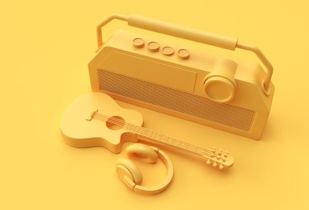 古いビンテージレトロスタイルのラジオ3dイラストデザインの3dレンダリングアコースティックギターミュージックヘッドフォン。