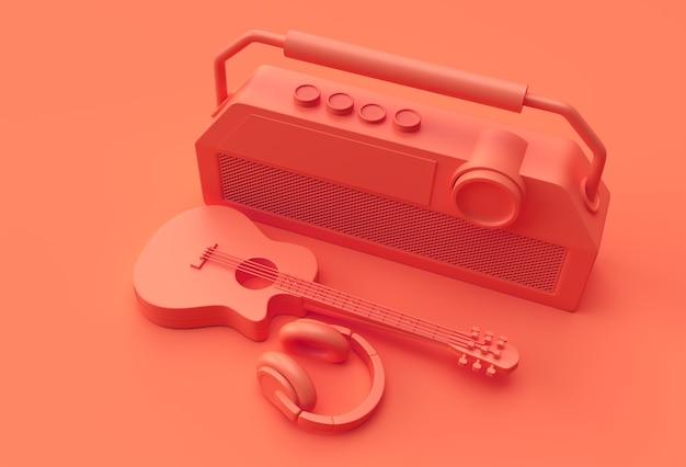 3d визуализация акустическая гитара музыкальные наушники со старым винтажным ретро-стиле радио 3d иллюстрации дизайн.