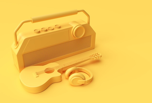 古いビンテージレトロスタイルのラジオ3dイラストデザインの3dレンダリングアコースティックギター音楽ヘッドフォン。