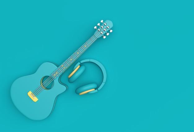 音楽ヘッドフォン付き3dレンダリングアコースティックギター3dイラストデザイン。
