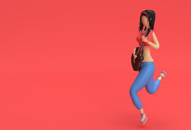 女性の漫画のキャラクターと3dレンダリングアコースティックギター3dイラストデザイン。