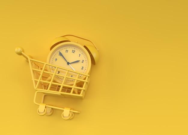 쇼핑 카트 그림 디자인에서 3d 렌더링 알람 시계입니다.