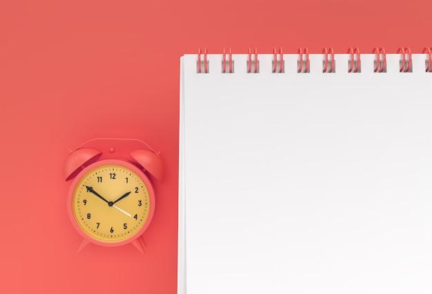 3d визуализация будильник с ноутбуком макет с чистой заготовкой для дизайна и рекламы, трехмерный вид в перспективе.