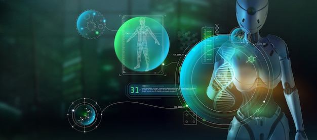 3d визуализация инопланетный искусственный интеллект изучает структуру человека