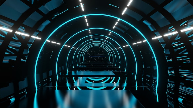 블루 네온 불빛 추상적 인 배경 3d 렌더링 외계인 관점 블루 복도