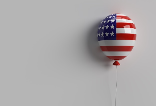3d render american patriotic balloons in traditional colors. 4th of july usa independence day concept.