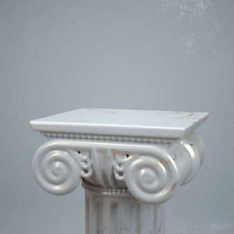 3d render of ancient column with marble texture. product showcase creative mockup.