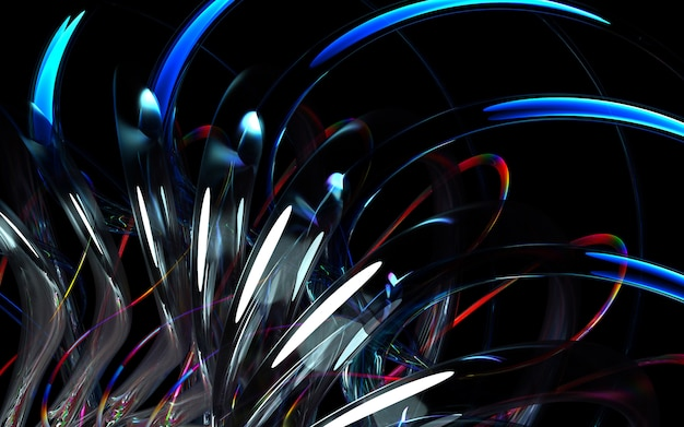 3d render of art 3d background with part of abstract turbine engine or kaleidoscopic flower with sharp blades in curve wavy bio forms in white glossy ceramic, glass and red multi-color metal material