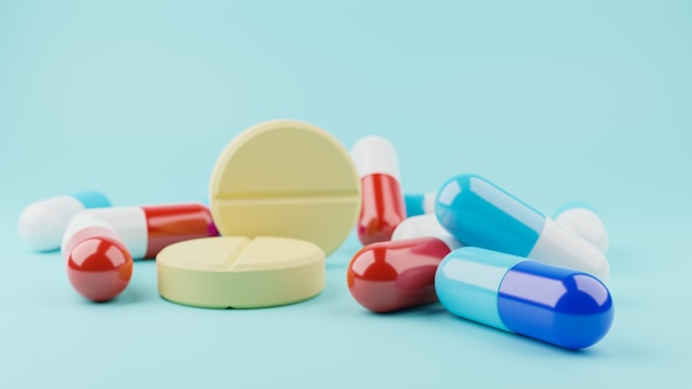 3d render. assorted pharmaceutical medicine pills tablets and capsules