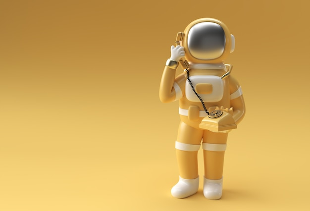 3d визуализации астронавт вызывая жест со старым телефоном 3d иллюстрации дизайн.
