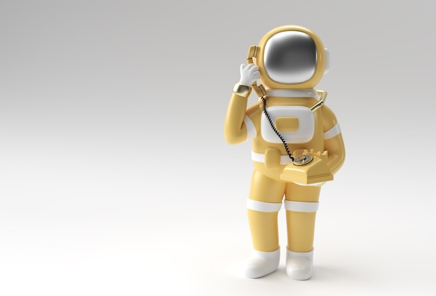 3d render astronaut calling gesture with old telephone 3d illustration design.