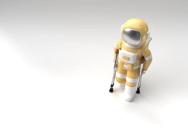 3d визуализации астронавт-инвалид с помощью костылей для ходьбы 3d иллюстрации дизайн.