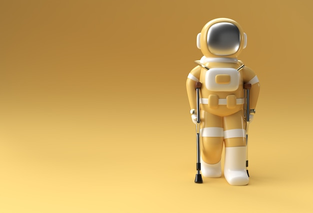 3d render astronaut disabled using crutches to walk 3d illustration design.