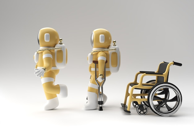3d render astronaut disabled using crutches to walk with weelchair 3d illustration design.