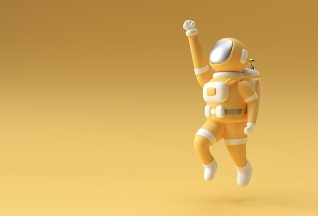 3dレンダリング宇宙飛行士飛行3dイラストデザイン。