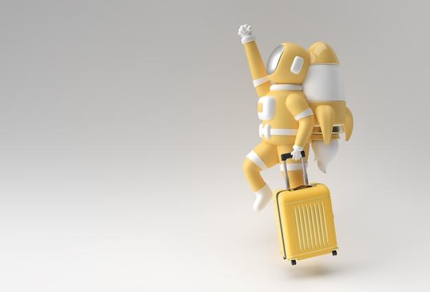 3d 렌더링 여행 가방 3d 일러스트 디자인으로 비행 하는 우주 비행사.