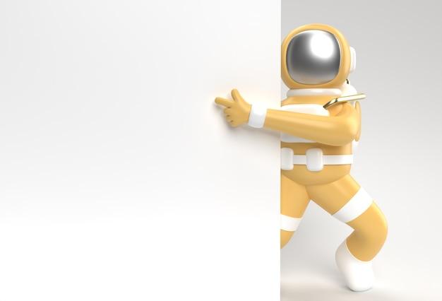 3d визуализации астронавт рукой указывая жест пальца с удержанием белого баннера 3d иллюстрации дизайн.