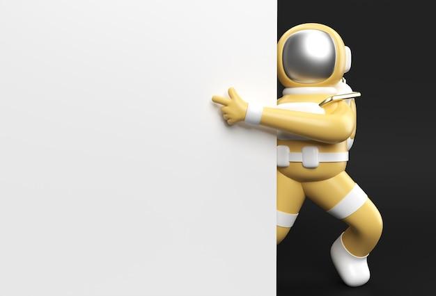 白いバナーを保持している3dレンダリング宇宙飛行士の手指指ジェスチャー3dイラストデザイン。