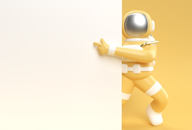 3d render astronaut hand pointing finger gesture with holding a white banner 3d illustration design.