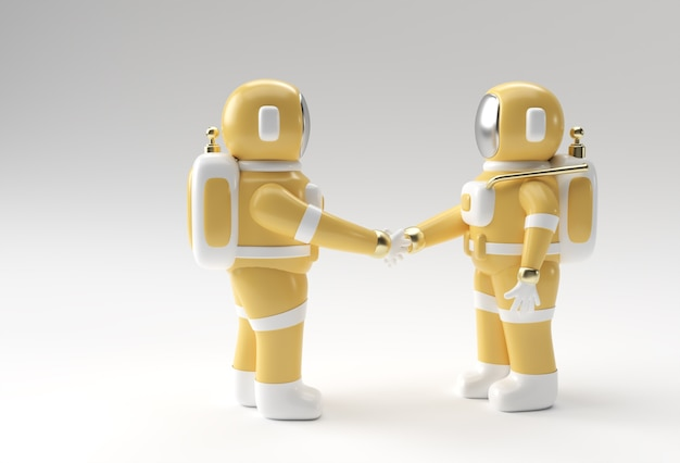 3dレンダリング宇宙飛行士ハンドシェイクジェスチャ3dイラストデザイン。