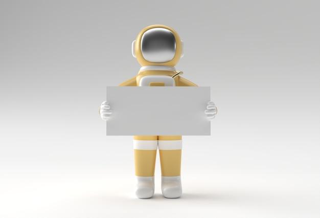 3d 렌더링 흰색 배너 3d 일러스트 디자인을 들고 우주 비행사.