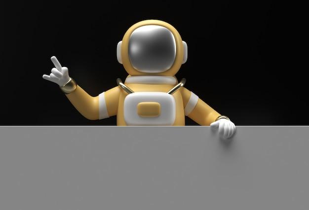 검정색 배경에 흰색 배너를 들고 3d 렌더링 우주 비행사.