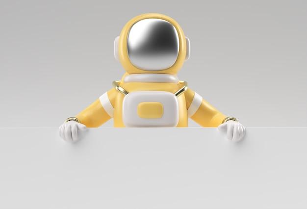 3d 렌더링 흰색 배경에 흰색 배너를 들고 우주 비행사.