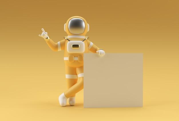 노란색 배경에 흰색 배너를 들고 3d 렌더링 우주 비행사.