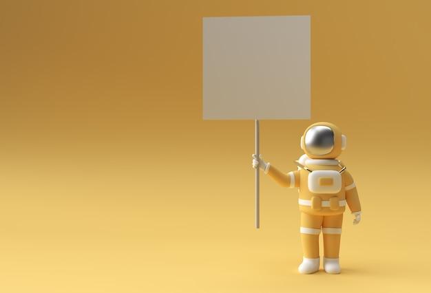 노란색 배경에 흰색 패널 현수막을 들고 3d 렌더링 우주 비행사.