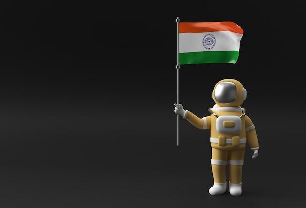 인도 국기를 들고 3d 렌더링 우주 비행사입니다. 인도 독립 기념일 개념입니다.
