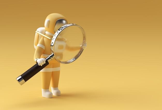 3d визуализация астронавт, держащий увеличительное стекло на желтом фоне.
