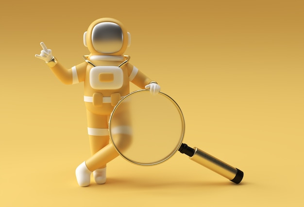 3d render astronaut holding magnify glass on a yellow background.