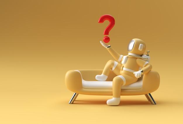 ソファのモックアップ3dイラストデザインに座ってクエスチョンマークを保持している3dレンダリング宇宙飛行士。