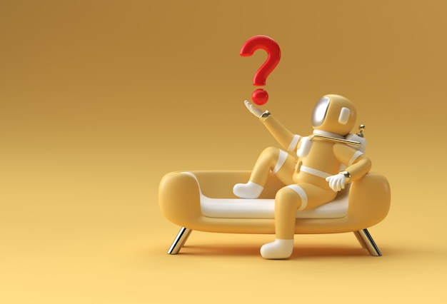 3d render astronaut holding question mark sitting on sofa mockup 3d illustration design.