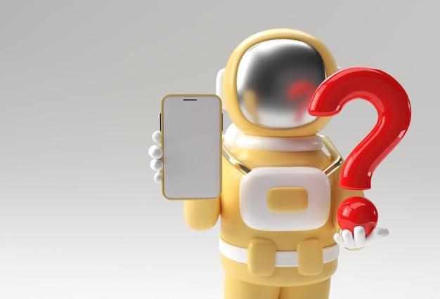空白のモバイルモックアップ3dイラストデザインで疑問符を保持している3dレンダリング宇宙飛行士。