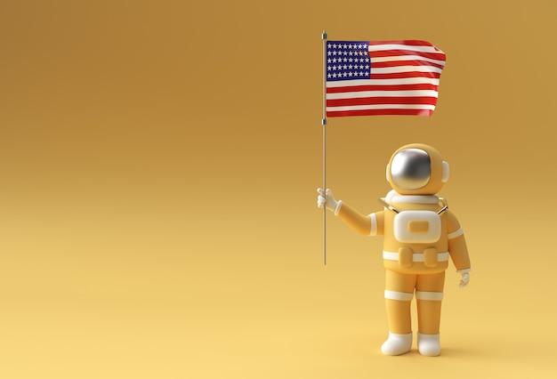 미국 국기를 들고 3d 렌더링 우주 비행사입니다. 7월 4일 미국 독립 기념일 개념입니다.