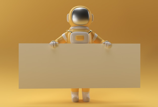 3d render astronaut holding a white banner on a yellow background.