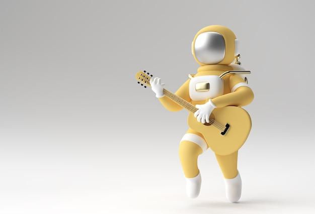 ギターを弾く3dレンダリング宇宙飛行士3dイラストデザイン。