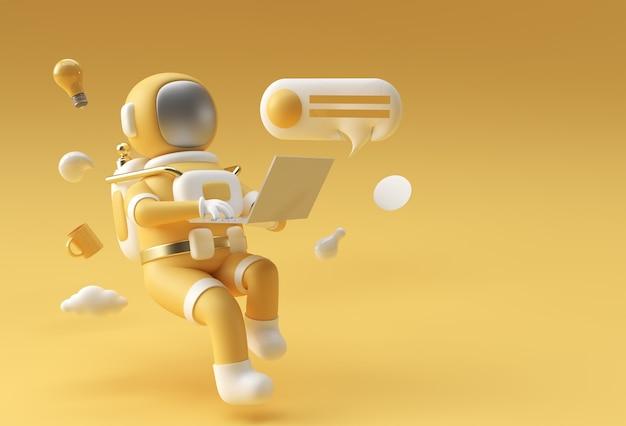 ラップトップ、3dイラストデザインに取り組んでいる宇宙服の3dレンダリング宇宙飛行士。