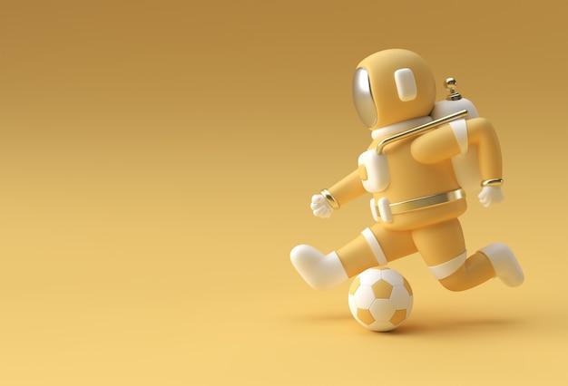 3dレンダリング宇宙飛行士がフットボールバルの3dイラストレーションデザインを蹴っています。