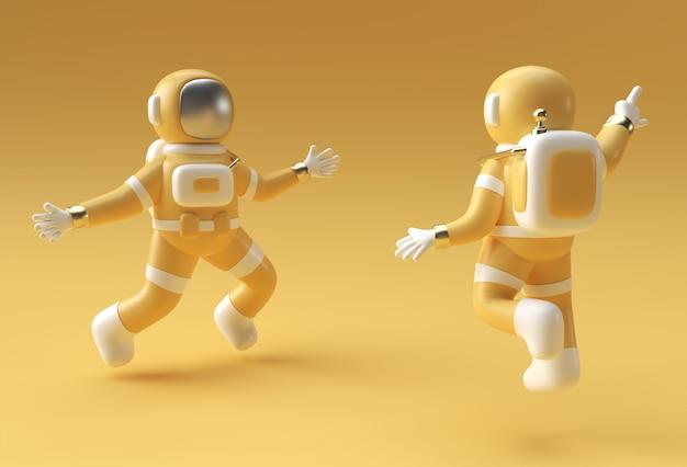 3d render astronaut jumping in action 3d illustration design.